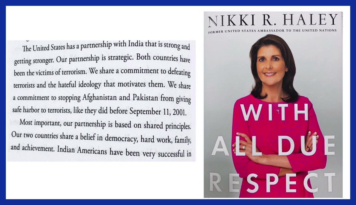 Among her many sterling qualities... @NikkiHaley also is a champion of US-India ties...🇮🇳🇺🇸 Relishing her references to the bonds that bind r countries... Here's a peek...rest u can read in... With All Due Respect 🙏🏽