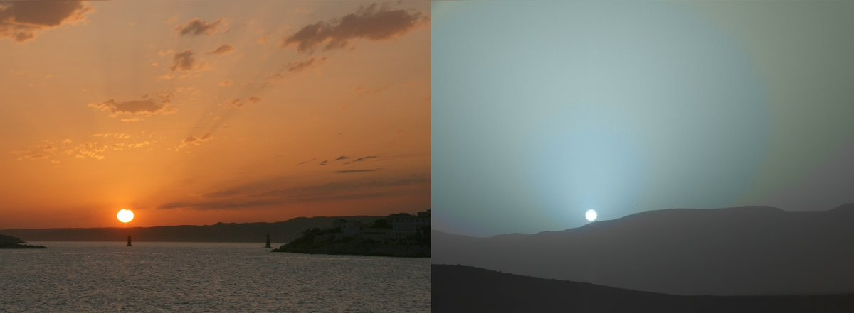 Strange that sunsets are red on the Blue Planet and blue on the Red Planet. <br>http://pic.twitter.com/PDoWkB7yV7