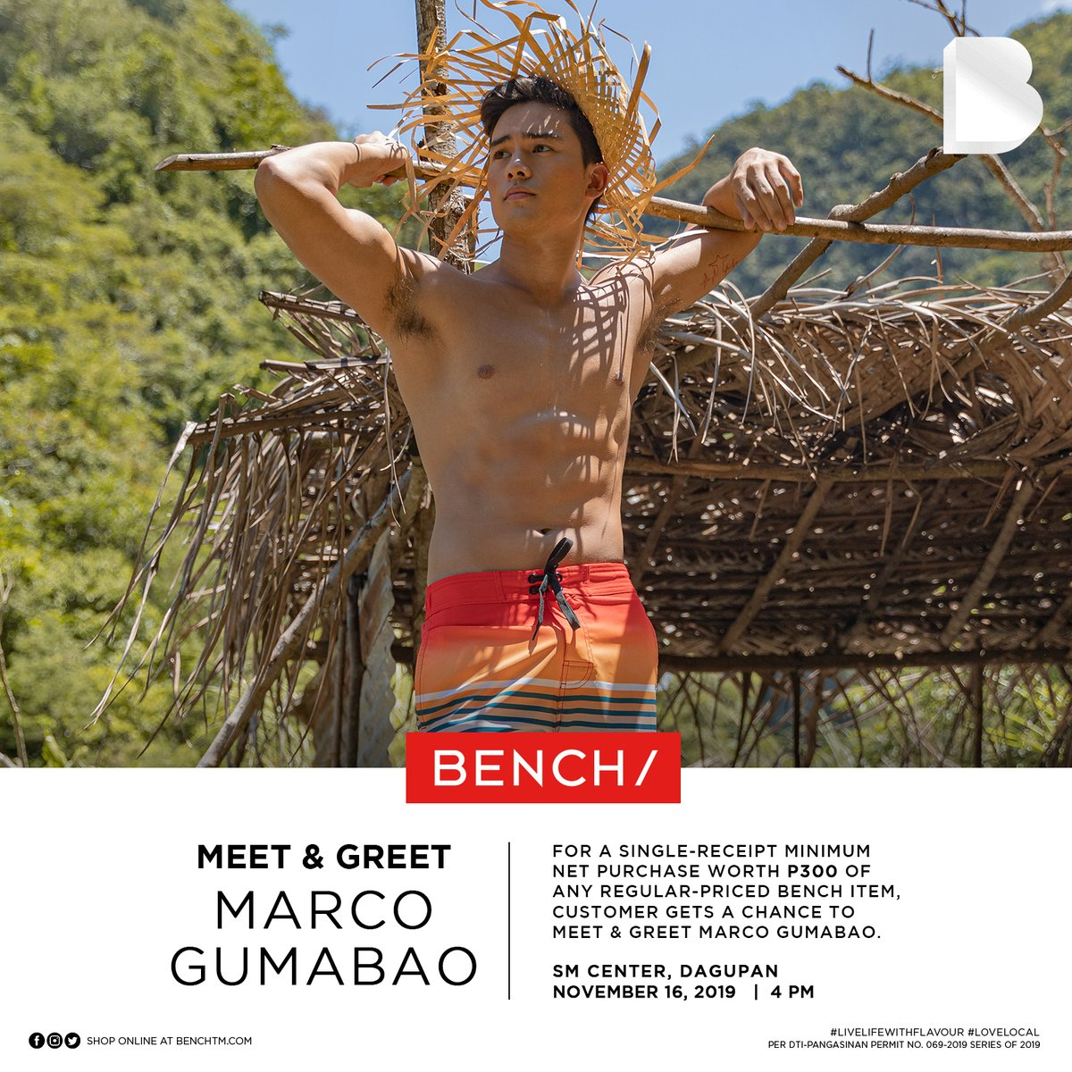 What's up, Dagupan! 📣 @marcogumabao is coming to visit you! 🎉 Catch him tomorrow, November 16, 2019 at SM Center Dagupan at 4pm! See you there 😜 #BENCHEveryday