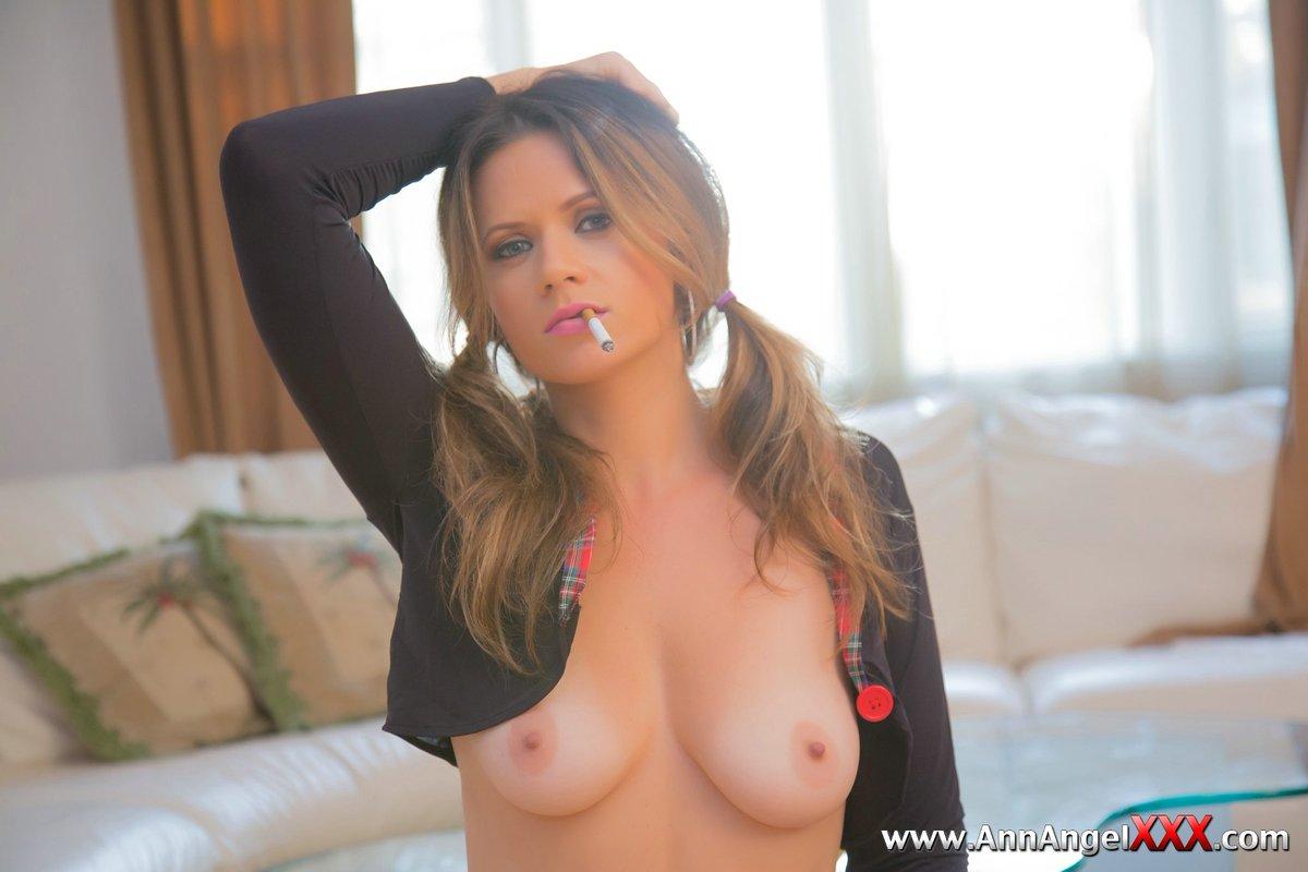 Ann Angel Showing Her Rock Hard Nipples