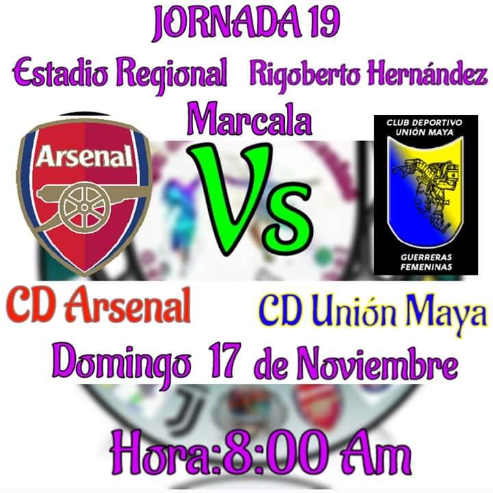 """Campeonato  Federado  """"José Rosario Tejeda"""" Clausura 2019-2020⚽⚽⚽⚽ #Jornada19  #CDArsenal_VS_CDUnion_Maya #Domingo_17_de_noviembre ven y apoyanos #unionmayafemeninofc🖒 #ApoyemosElFutbolFemenino  💪⚽"""