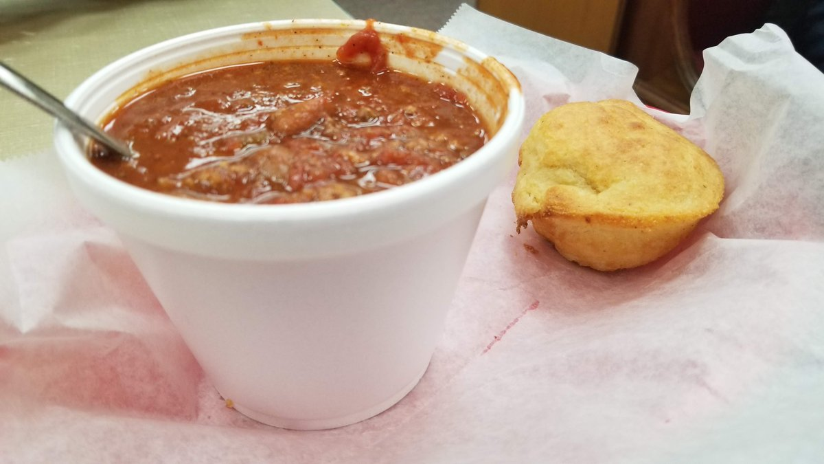 @GFoodieFriends @Anna_Ann_6 @LeesaTruesdell @southvillas @MatthewHirtes @lets_be_merry @DemiDives @griffalotrail @DivaVinophile @LiveaMemory @AngelaMDiLoreto @CourseCharted @AuraPriiscel Soup and/or chili are always great on a cold day. The chili is from our local drug store lunch counter here in Clinton, TN @HoskinsDrugStor . The potato soup is from @livingstondepot on the square in Livingston, TN. #soup #FoodieFriday #travel