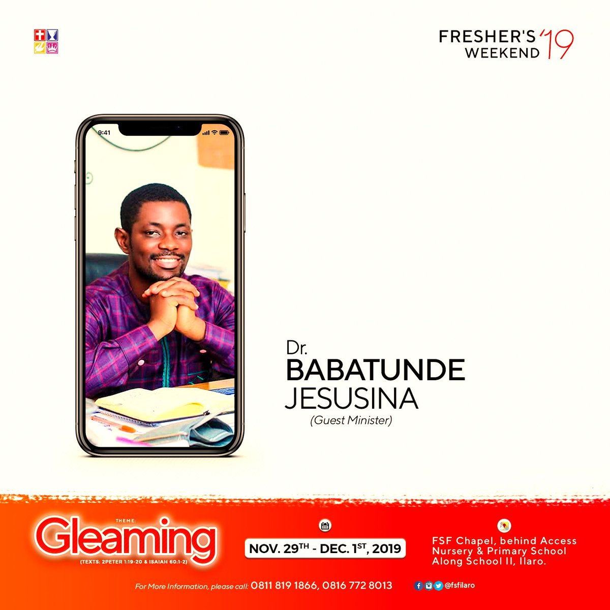 Presenting to you our Guest Minister for our forthcoming Fresher's Weekend 2019.   Dr. BABATUNDE JESUSINA   #freshersweek2019 #fsfilaro #theilluminatorsgeneration