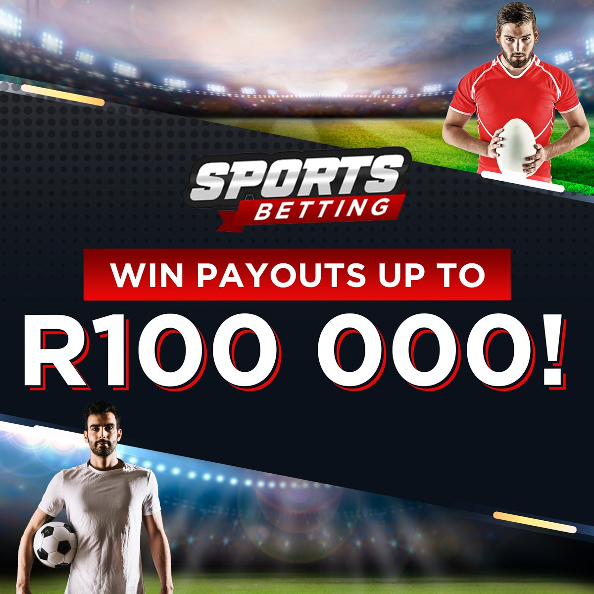 You wouldn't want to #miss your favourite #team in #action! So, why would you want to miss these #GREAT payouts – R100000? It's #SportsBetting time and we have action-packed #international and local sports events to choose from. #Bet now!