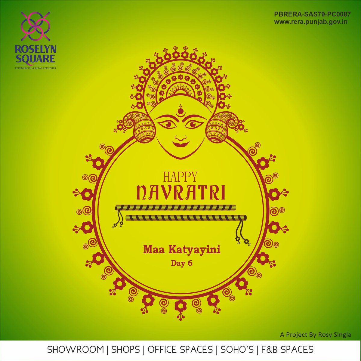 May maa Katyayini bless you with peace, happiness and wealth this Festive Season.  Happy 6th Day of Navratri!  #Maakatyayini #Roselynsquare #Peace #Happiness #Wealth #Happynavratri #CommercialPlaza #Zirakpur