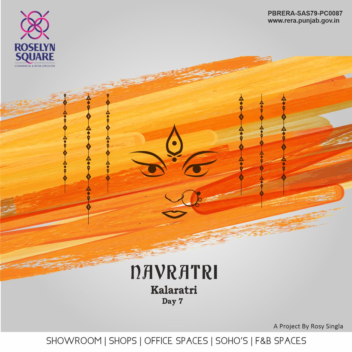 Roselyn Square wishes may Maa Kalaratri fill your life with success during Navratri and all through the year.  Happy 7th Day of the Navratri!  #Maakalaratri #Roselynsquare #Success #CommercialPlaza #Zirakpur #HappyNavratri