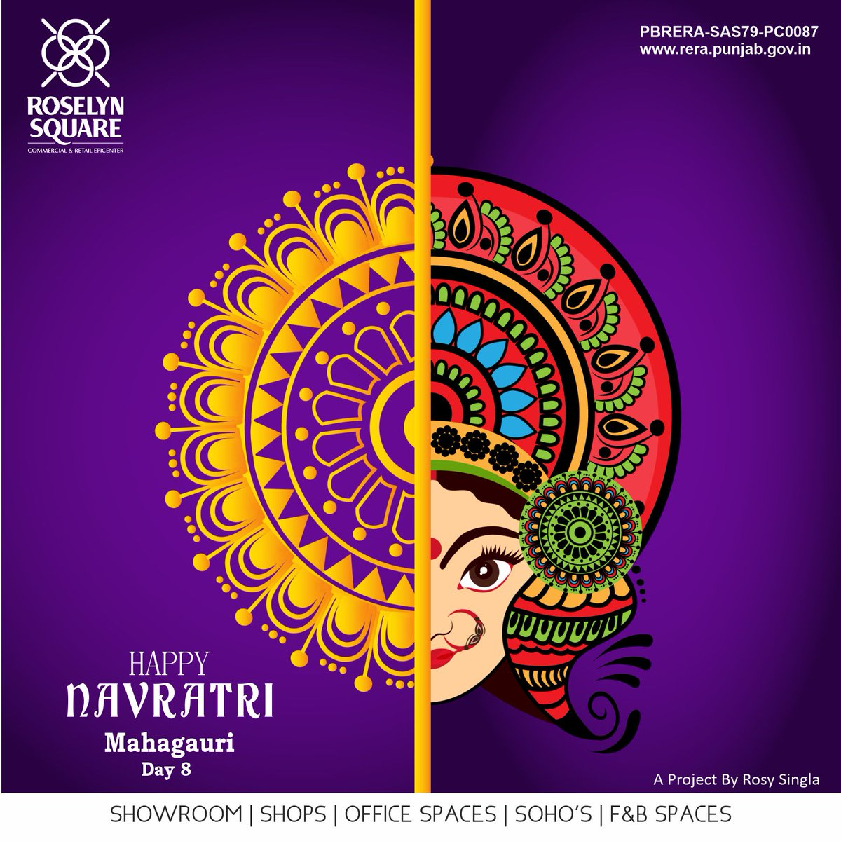 On this pious festival of Navratri, Roselyn Square wishes may you always be Happy and Victorious.  Happy 8th Day of the Navratri!  #Maamahagauri #Roselynsquare #Victory #CommercialPlaza #Zirakpur #HappyNavratri #Happy