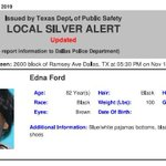 Image for the Tweet beginning: ACTIVE SILVER ALERT for Edna