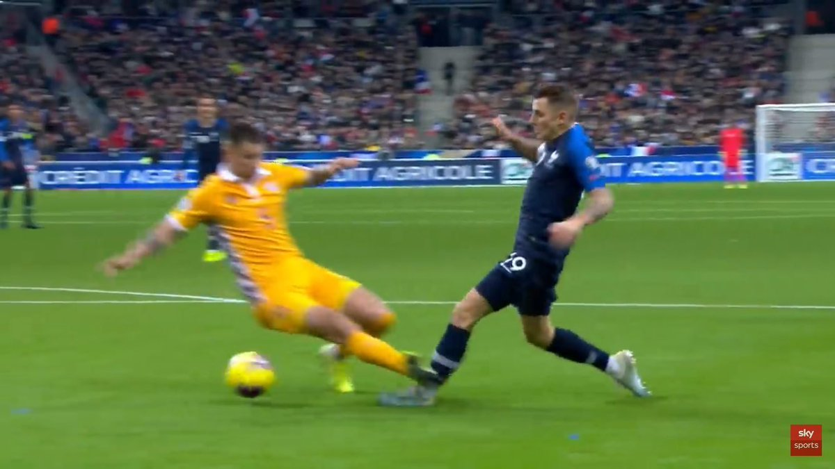 Looks like we were lucky to escape another long-term injury during this international break. This was a tackle made on Lucas Digne during France's 2-1 victory over Moldova.  This would have summed our season up tbh.  #EFC<br>http://pic.twitter.com/8aN7mhXKPi