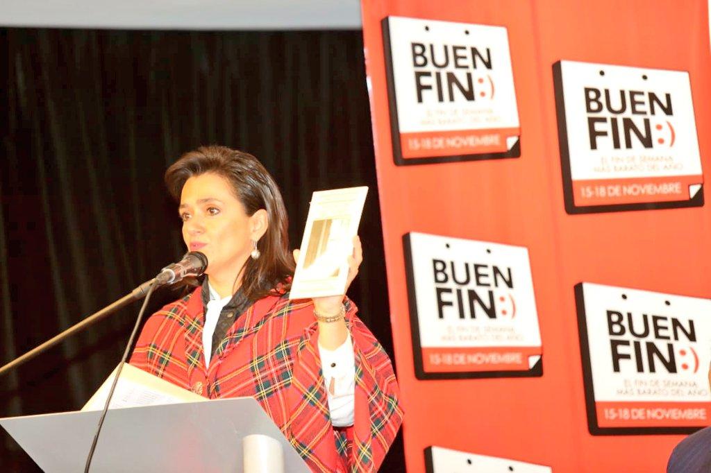 #Conferencia Los consumidores que adquieren productos en #ElBuenFin2019 contribuyen a fortalecer los negocios formales: Margarita Ríos-Farjat, jefa del Sat. #PrimeraCompraBuenFin
