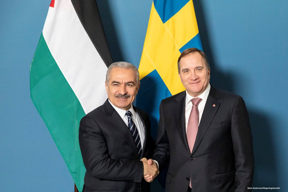 Yesterday, @SwedishPM Stefan Löfven welcomed Palestinian Prime Minister @DrShtayyeh in Stockholm. The meeting included discussions on the bilateral relationship, developments in Palestine, including the importance of democratic reforms, the security situation and regional issues.