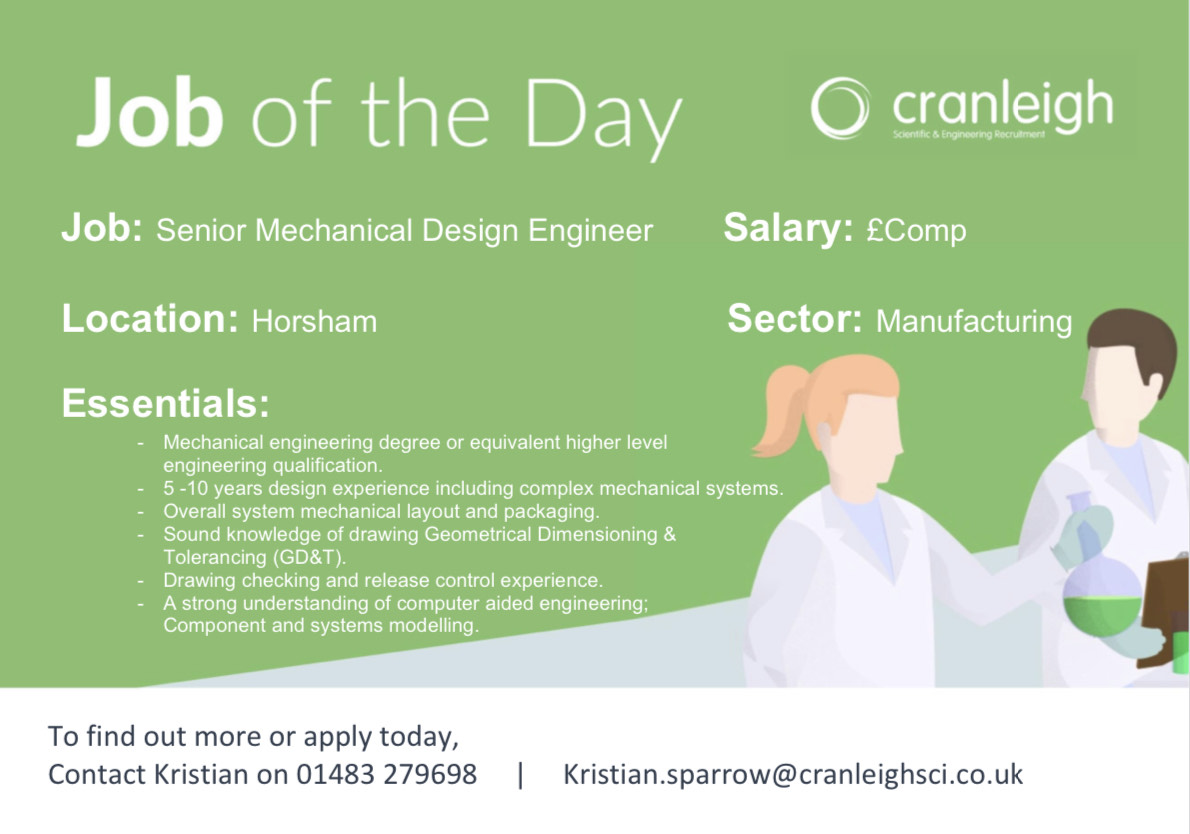 Cranleigh Scientific On Twitter Job Of The Day A Growing Clean Technology Business Are Looking To Appoint A Senior Mechanical Design Engineer To Provide Engineering Design Support As Part Of The Mechanical