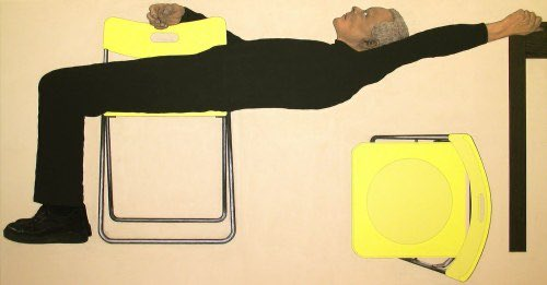 Two yellow Ikea chairs, Harry van der Woud