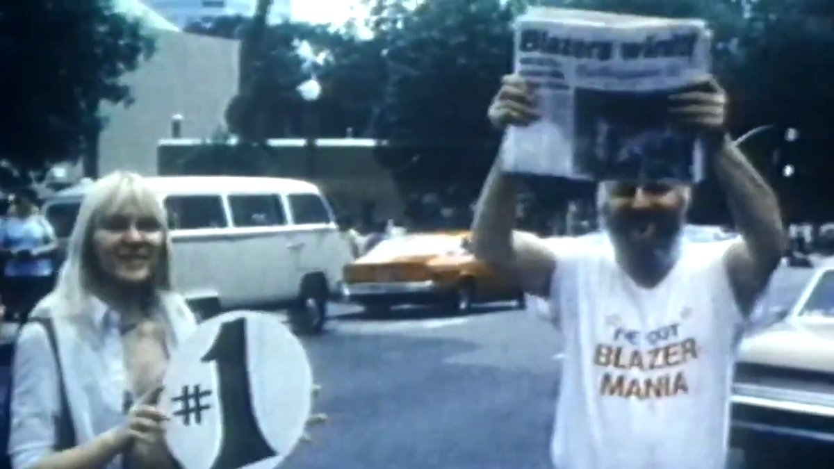 """""""'The turnout was just phenomenal. You couldn't see the sidewalks, people were hanging off of light poles. ..It was just a sea of humanity'""""  We drive the 1977 Championship Parade Route with Dave Twardzik in Episode 2 of """"Return to Rip City"""" presented by @alaskaair."""