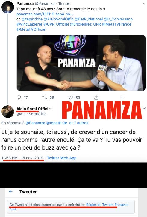 Soral souhaite la mort de Panamza : Twitter le censure