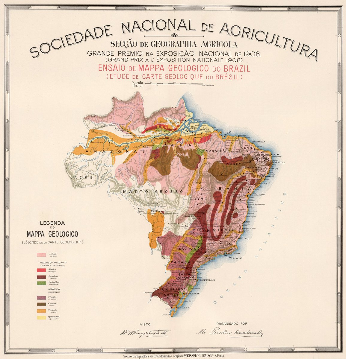 Picture of: I Fucking Love Maps On Twitter Geological Map Of Brazil Shows Administrative Divisions Rivers Forests And Mountains 1908 Source Https T Co Evbsdww7yc Https T Co Of4q8mwhdm