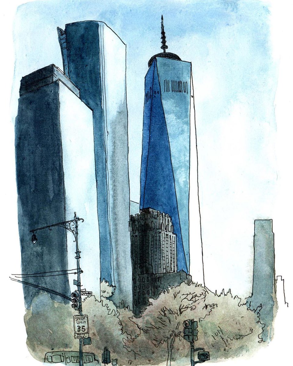 Check out this gorgeous illustration of #onewtc. Thanks for creating and sharing @quentinherogoer