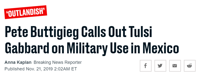 My Highly Commended award goes to this headline, sneakily phrased to make it seem like Buttigieg is the one calling Gabbard out for her outlandish plan to sic US troops on Mexico. thedailybeast.com/democratic-deb…