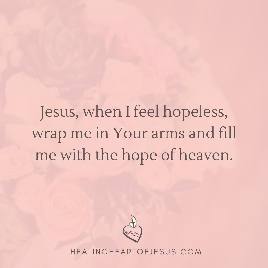 Cry out to #Jesus when you are feeling hopeless — ask Him to fill you with the #hope of #heaven! 🌸💞🙏 #anxiety #depression #mentalhealth #Prayer #CatholicTwitter