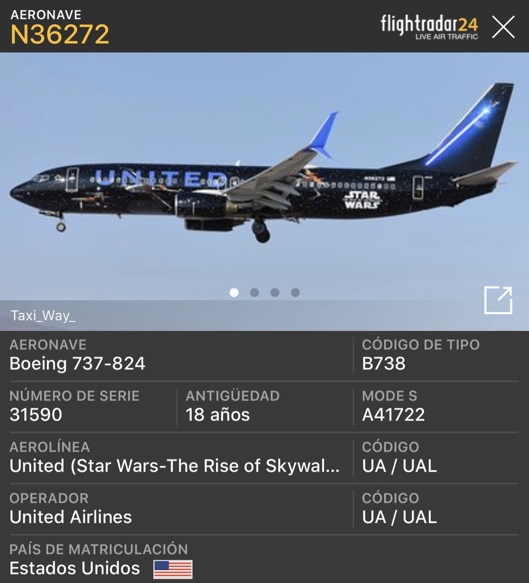 Ya como en 20 minutos, aterriza en PTY, el vuelo UA1855, de #StarWarsTheRiseOfSkywalker 😎 Usted se montaría con Darth Vader de Piloto? 😃😂