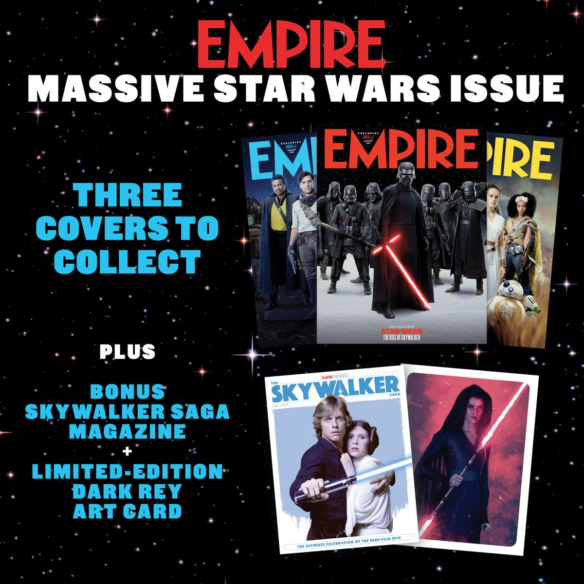 The saga ends. Empire's MASSIVE new #StarWars: #TheRiseOfSkywalker issue arrives Thurs 28 Nov – with exclusive images and interviews, bonus Skywalker Saga magazine celebrating the nine-film epic, and a limited-edition Dark Rey art card. READ MORE: empireonline.com/movies/news/em…
