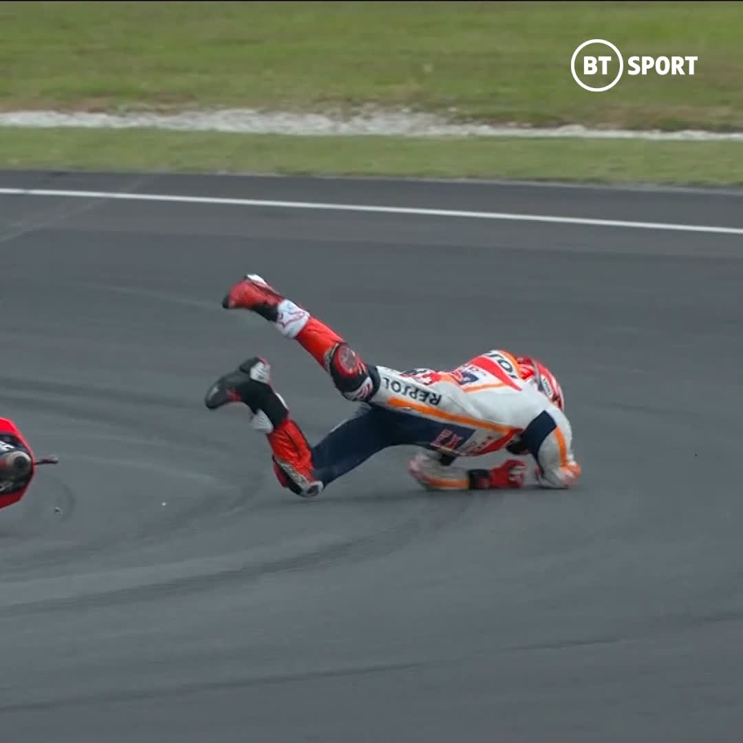 MotoGP riders are some of the toughest men in the world 💪  We saw some huge crashes in 2019...  They brush themselves down and get back on the bike 🤯