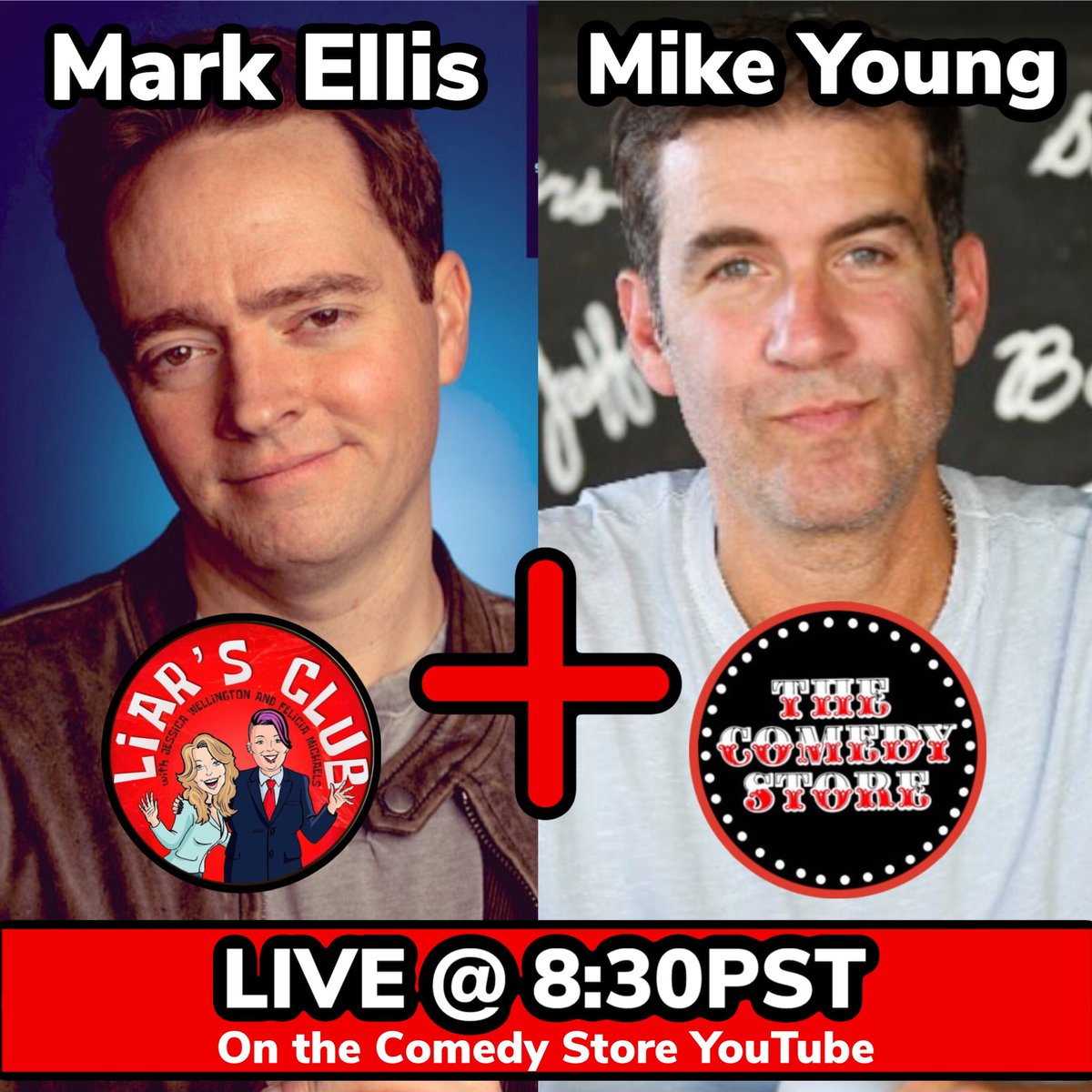 Back to our regular schedule tonight! Going live on @TheComedyStore YouTube at 8:30PST with guests @markellislive and @realmikeyoung  Play along with us live! #liarsclub #podcast #comedystore #youtube #markellis #mikeyoung #youtubelive
