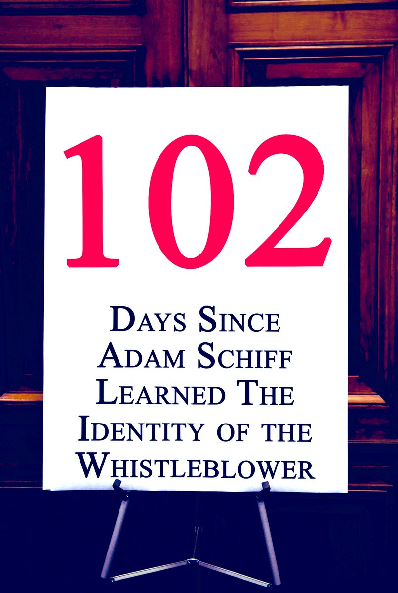 Days since @RepAdamSchiff learned the identity of the whistleblower: 102