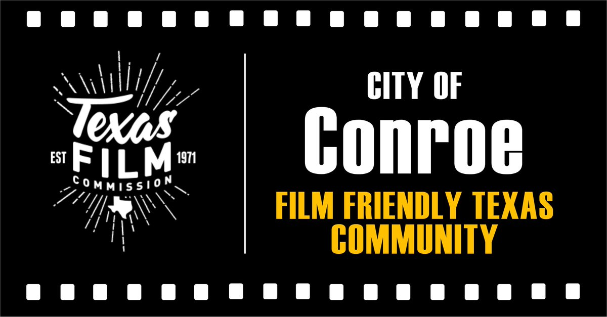Congratulations, @CityofConroe, on earning the Film Friendly Texas Community designation from @TexasFilmComm & joining 130+ Texas communities that receive ongoing training on media industry standards, best practices & how to effectively accommodate on-location filming.