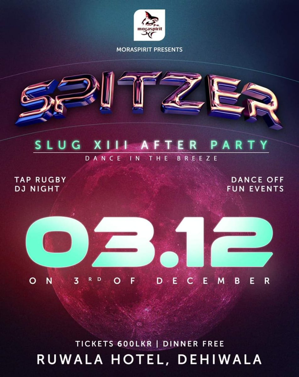 Spitzer will be held on the 3rd of December at Ruwala hotel, Dehiwala. Join the fun for only Rs.600/= Tickets are now available. #moraspirit #spitzer https://t.co/74gaWm36Hz