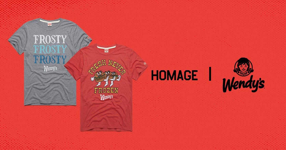 Happy 50th birthday, @Wendys! New tees fresh off the grill to pay homage to half a century of Frosties, Singles and Spicy Nuggs.  Available at http://www.HOMAGE.com.