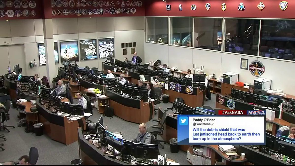 One main task for todays spacewalk was to remove and jettison the debris shield covering the Alpha Magnetic Spectrometer. @wolfetone98 wants to know, Will the debris shield head back to earth then burn up in the atmosphere? #AskNASA | nasa.gov/live