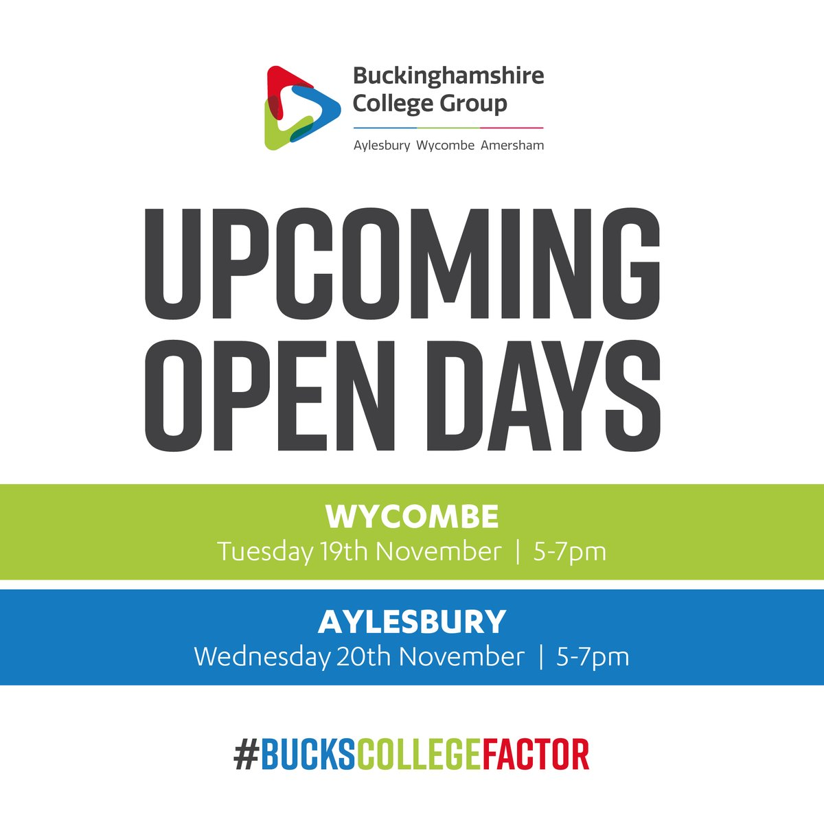 To get the #BucksCollegeFactor working for you, register for one of our upcoming Open Days at https://www.buckscollegegroup.ac.uk/enrol/open-days.     #BucksCollegeGroup #Bucks #Buckinghamshire #College #HigherEducation #College #Aylesbury #Amersham #Wycombe #Apprenticeship #OpenDay