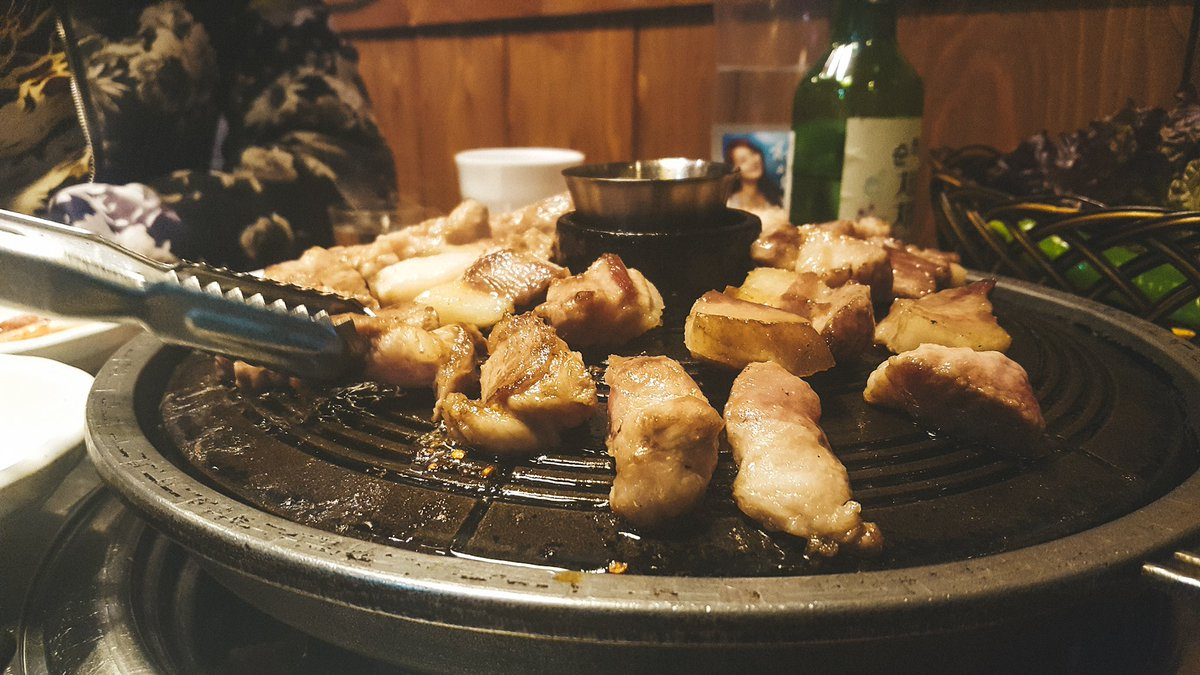 @GFoodieFriends @Anna_Ann_6 @LeesaTruesdell @southvillas @MatthewHirtes @lets_be_merry @DemiDives @tripinnuggets @DivaVinophile @LiveaMemory @AngelaMDiLoreto @CourseCharted @AuraPriiscel Here is 삼겹살, aka samgyeopsal which is Korean grilled pork belly, and its super awesome and warming to eat during the winter season!