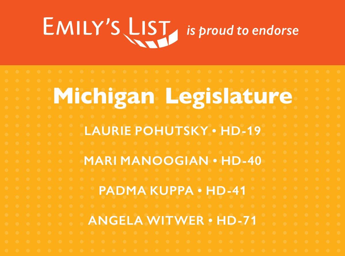 We are proud to endorse @lpohutsky19 (MI-HD19), @MariManoogian (MI-HD40), @MIRepPadmaKuppa (MI-HD41), and @AngelaMIHouse (MI-HD71) for the Michigan House of Representatives!