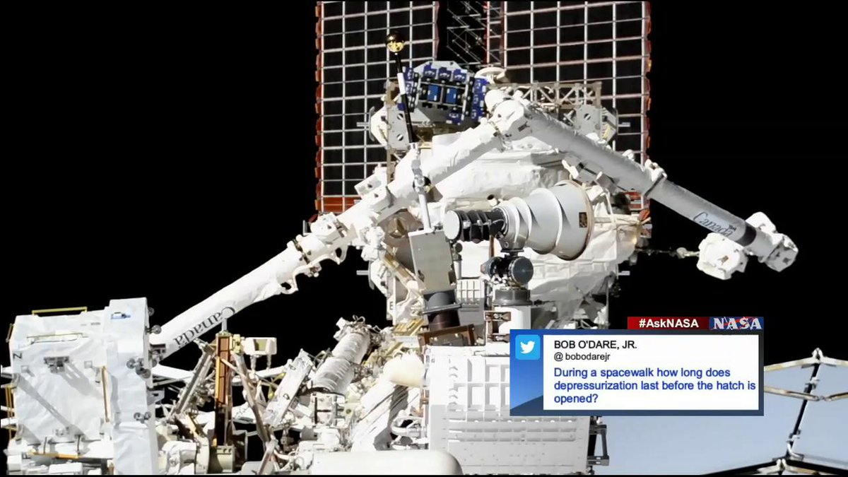 Our first #AskNASA question today comes from @bobodarejr who asked, How long does depressurization last before the hatch is opened? nasa.gov/live