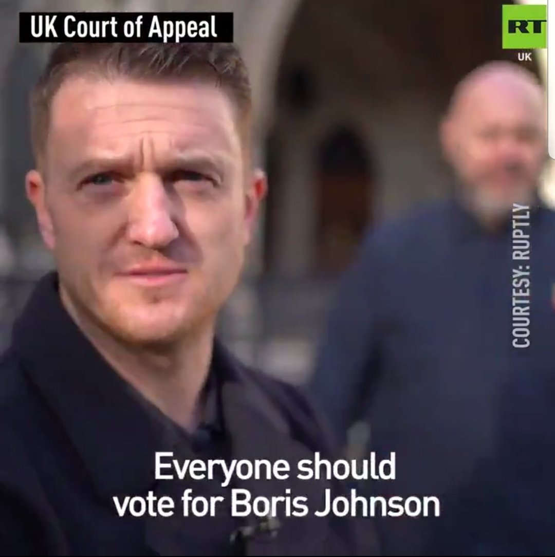 Racist thug and convicted criminal Tommy Robinson - endorses Boris Johnson on Russian propaganda channel RT. And the circle of Brexit is complete.