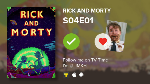 I've just watched episode S04E01 of Rick and Morty! #rickandmorty  #tvtime  https:// tvtime.com/r/1drct     <br>http://pic.twitter.com/PlRTSJKVt1