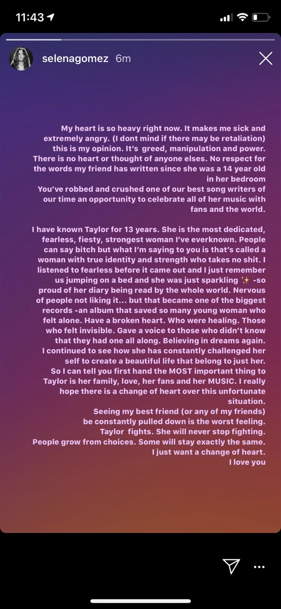 "IG | Selena Gomez showing her support for Taylor via Instagram story #IStandWithTaylor  ""I have known Taylor for 13 years. She is the most dedicated, fearless, feisty, strongest woman I've ever known (...) Taylor fights. She will never stop fighting. I love you.""<br>http://pic.twitter.com/MlRbyiUM9o"
