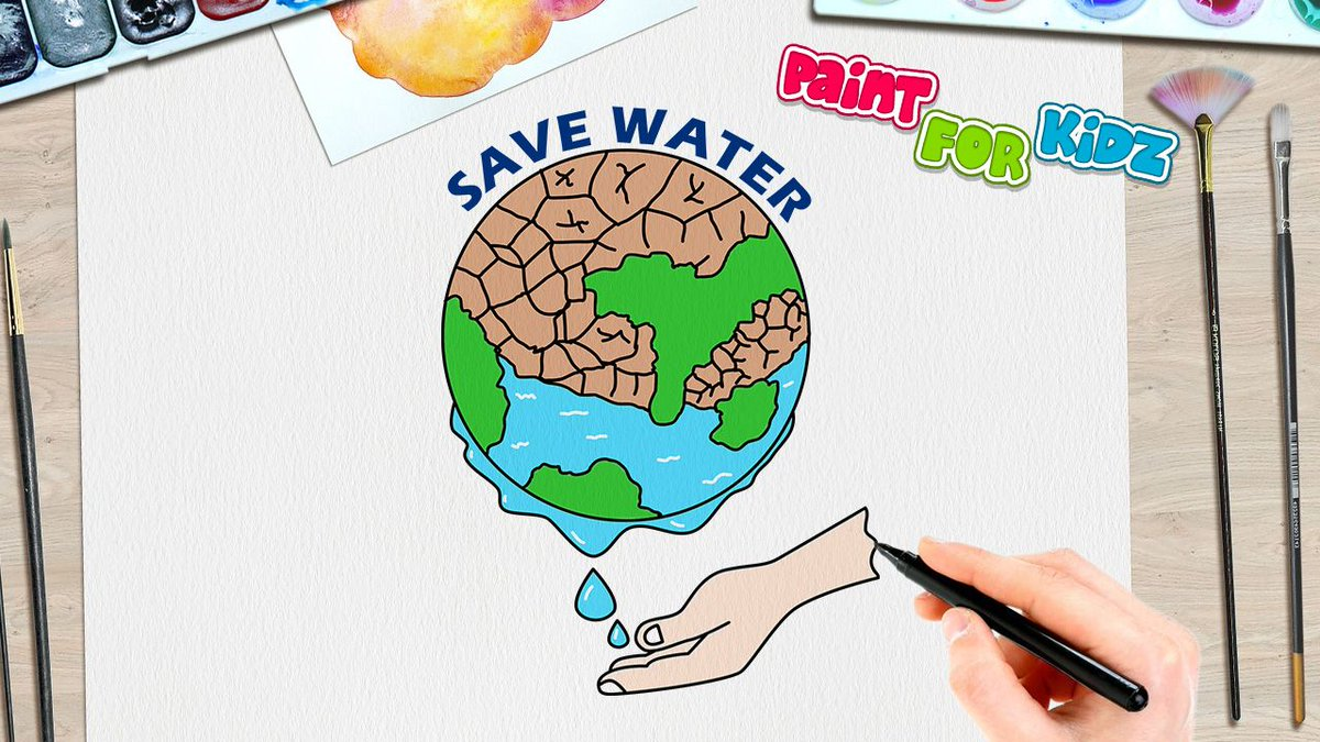 Paint For Kidz On Twitter How To Draw Save Water Poster Watch