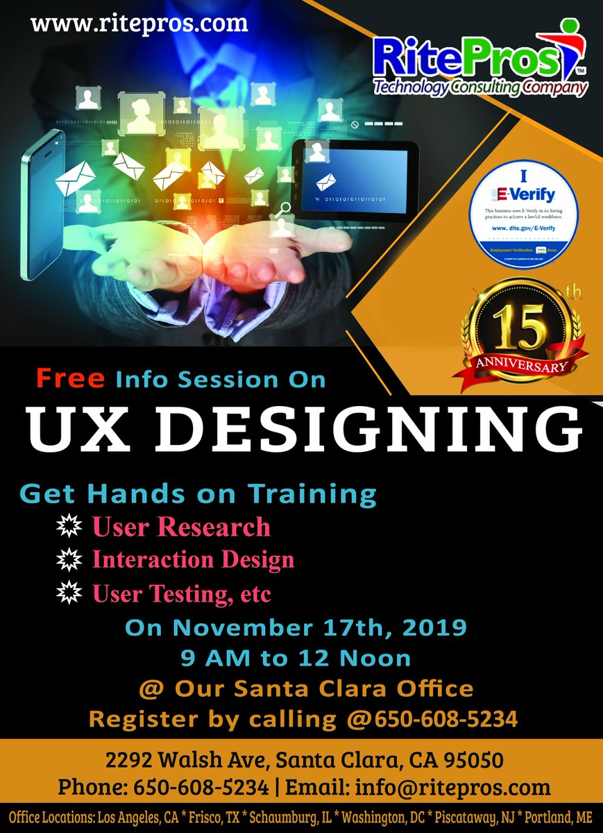 Free Career Counselling for MS Students in Silicon Valley Date: November 16th & 17th, 2019 Time: 10 am to 12 noon & 1pm to 3pm @RitePros Inc UX Designer AngularJS ReactJS PYTHON Salesforce  http://www. ritepros.com     Location: 2292 Walsh Ave, Santa Clara, CA 95050 Call @ 650-608-5234<br>http://pic.twitter.com/fcSZzb9Xpa