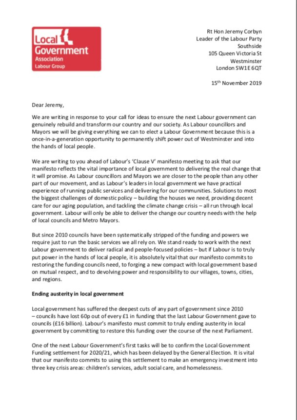 Over 125 Labour council leaders and mayors 🌹 have written to @jeremycorbyn today asking him to ensure that Labour's manifesto commits to giving councils the 💷 funding and 💪🏼 powers they need, and devolving more powers to towns 🏡 cities 🏙and regions 🇬🇧 - RT to add yr support!