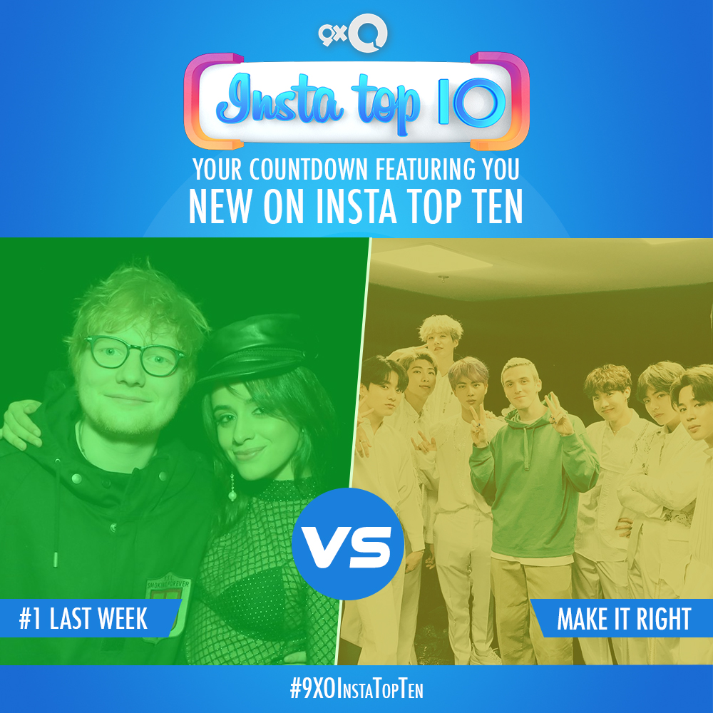RT for @EdSheeran & @Camila_Cabello or Heart for @lauvsongs & @BTSW_official on the #9XOInstaTopTen countdown! Who's got your vote?