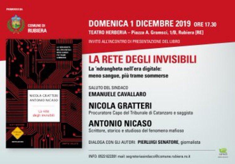 Domenica 1 Dicembre presenteremo #Laretedegliinvisibili, il nuovo libro in uscita martedì 19 Novembre, prima a Rubiera e poi a Carpi. Vi aspettiamo.  @AntonioNicaso @PierSenatore