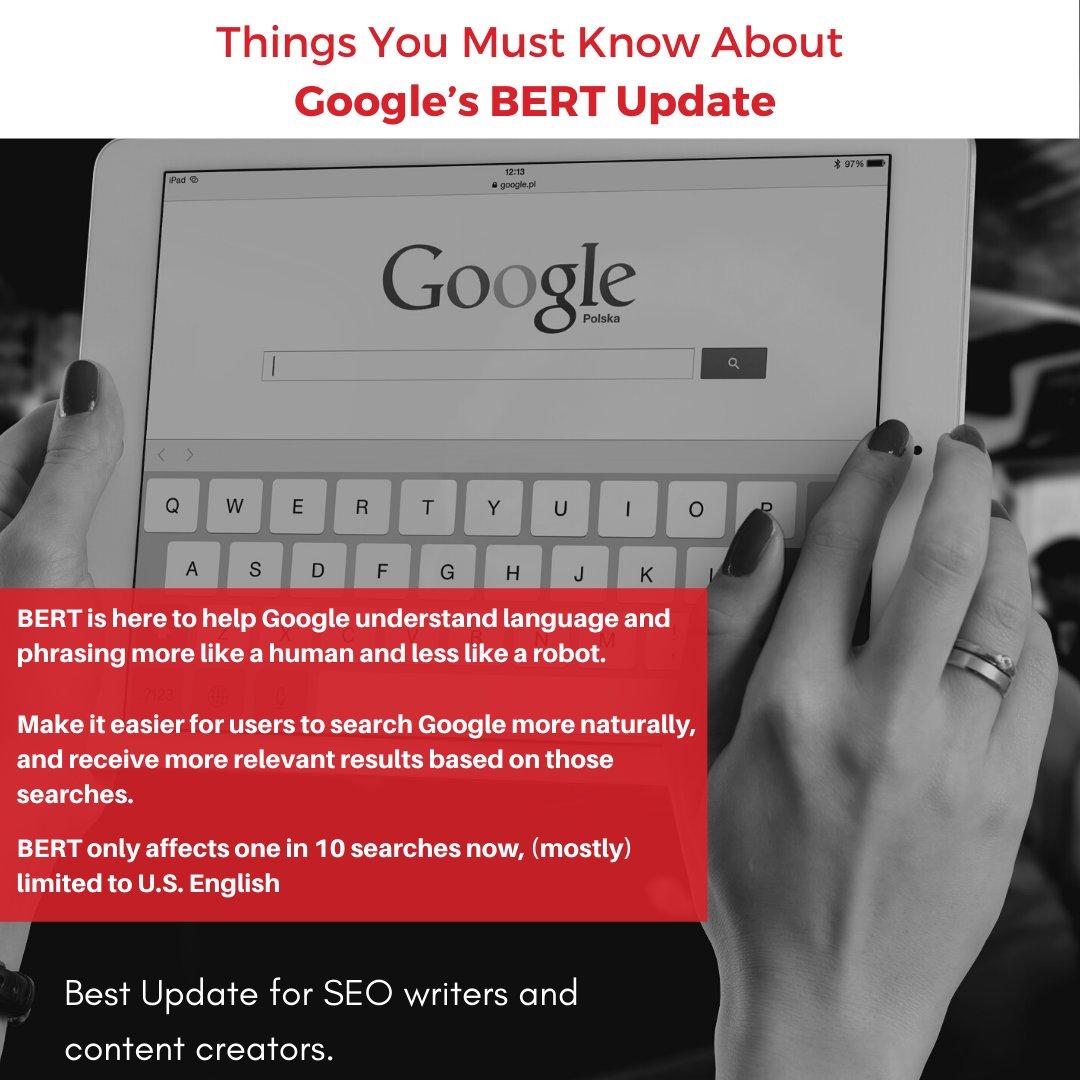 Things you should know about Google's BERT Update.   #SEO #SEOTips #SEOProcess #Trends #DigitalMarketing #MarketingStrategy #socialmedia #GrowthHacking #ContentMarketing #Google #SEM #BERT #Update #Digital #ContentWriter #SEOwriter #Contentmarketing<br>http://pic.twitter.com/bXMAGU5HmB