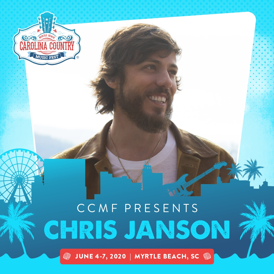 "This living legend in the making is bringing the ""Good Vibes"" in June! His chart-topping double platinum song ""Buy Me A Boat"" was named one of the ""Ten Songs I Wish I'd Written"" by NSAI. Get your tickets to see @janson_chris at ccmf.com - payment plans available!"