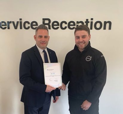 It's a massive Marshall congratulations to Max Wright who has passed his #Volvo #Apprenticeship Programme and is now qualified Level 3 #Technician at Marshall Volvo #BishopsStortford. Well done Max – all of the team are VERY proud of you! (Pic with Anthony Lord, General Manager).