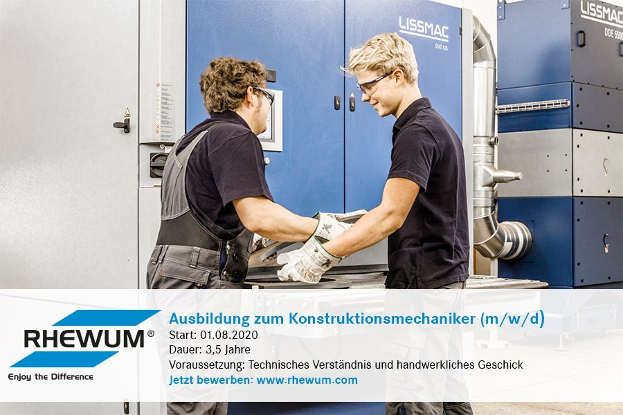 Are you looking for an #apprenticeship for 2020? Perhaps as a #constructionmechanic (m/f/d)? Then apply now to #RHEWUM. Click here for more information (German) https://bit.ly/2NK1Yoq