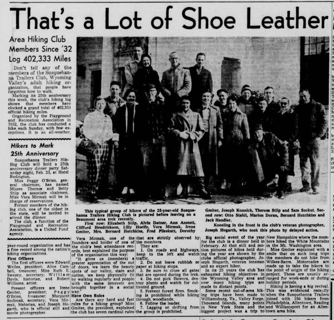 Check out 1957 article about Susquehanna Trailers Hiking Club celebrating 25th anniversary for #NationalTakeAHikeDay   #Hike #hiking #Pennsylvania #powerlibrary